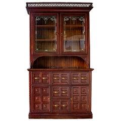 Tramp Art Step Back Cabinet