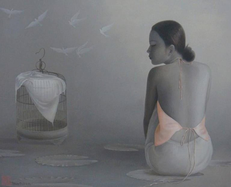 Flying Doves by Tran Huy Hoan, Large Horizontal Figurative Grey Painting For Sale 3