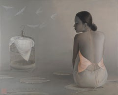 'Flying Doves',  Monochromatic Grey and Pinks Oil Painting, Female Figures