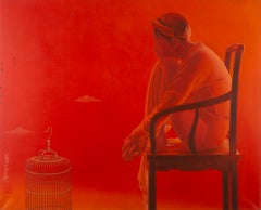 'Interwined', Red Monochromatic Oil Painting, Female Figure