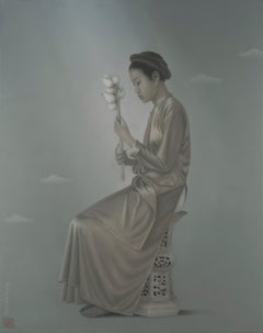 'Woman With Lotus' Grey and Pink Tones, Female Figure, Painting