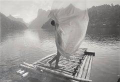 'Lady on Raft', Framed Black & White Photograph, Female Figure