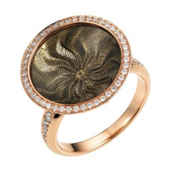 Trance Light Grey Enamel Ring in Rose Gold/Yellow Gold with Diamonds