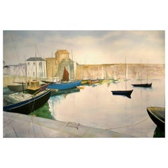 """Tranquil Harbour"" Contemporary Oil Painting by David Williams"
