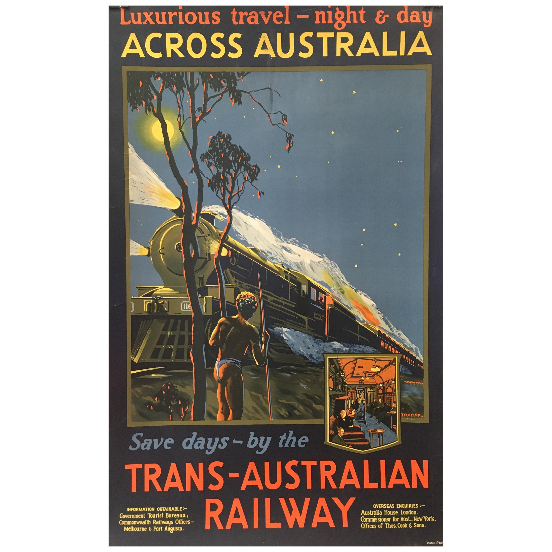 Trans-Australian Railway Original Vintage Poster by Tromf, 1935