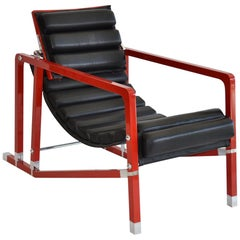 Transat Armchair by Eileen Gray in Red Lacquer and Leather, circa 1990