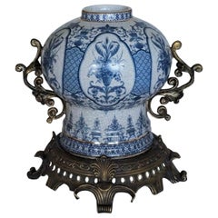 Transfer Decorated Chinoiserie Blue and White Porcelain Bronze Globular Jar