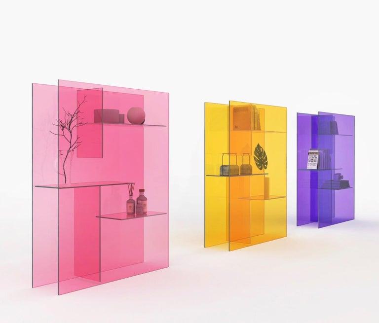 Italian Transfix Storage Unit in Glass, by Marc Krusin, Kensaku Oshiro from Glas Italia For Sale