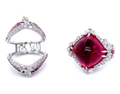 Transformable 19.10 Carat Unheated Rubellite Collectible Ring