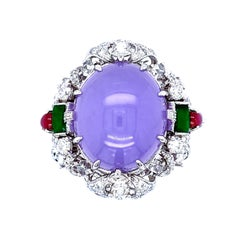 Transformable 19.41 Carat Certified Lavender Jadeite Collectible Ring