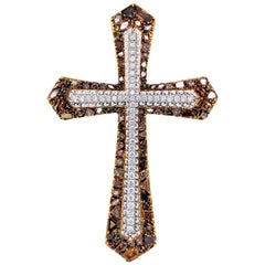 Transformable Fancy Color Diamond Cross Brooch and Pendant by Dilys' in 18K Gold