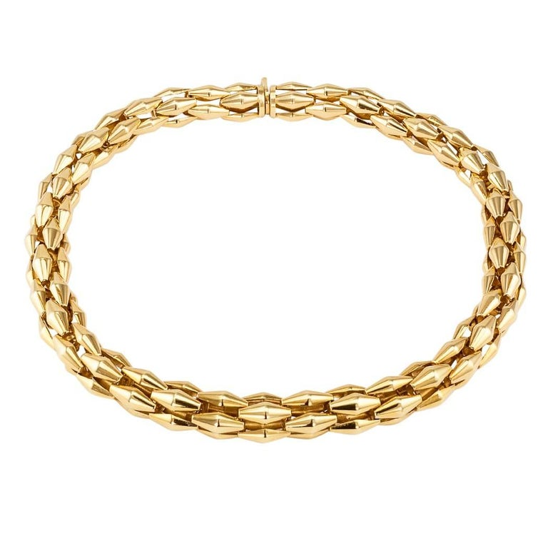 Round Cut Transformable Gold Diamond Tubular Necklace For Sale