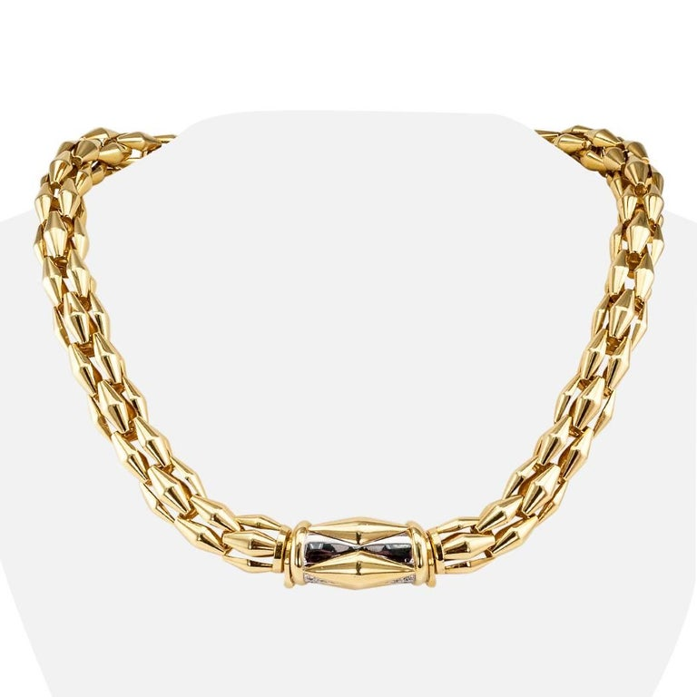 Transformable Gold Diamond Tubular Necklace In Excellent Condition For Sale In Los Angeles, CA