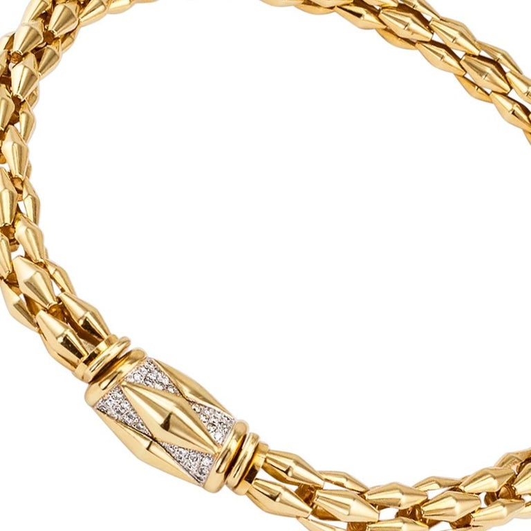 Women's Transformable Gold Diamond Tubular Necklace For Sale