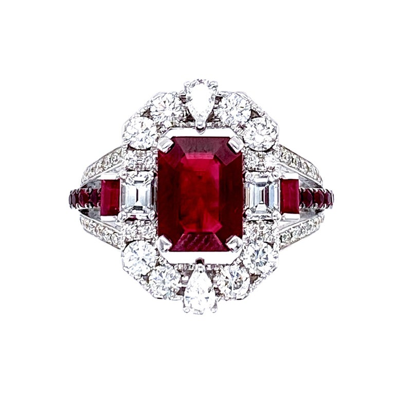 Artisan Transformable GRS Certified 'Pigeon's Blood' Ruby Cocktail Ring For Sale
