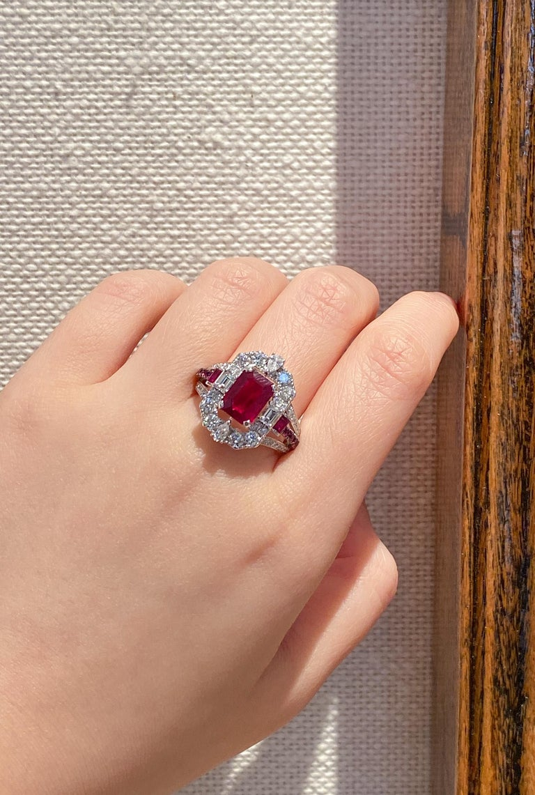 Emerald Cut Transformable GRS Certified 'Pigeon's Blood' Ruby Cocktail Ring For Sale