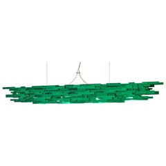 """Transit 51"""" Linear Chandelier in Green Anodized Aluminum by David D'Imperio"""