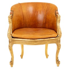 Transition Style Bergere in Giltwood and Leather, circa 1880