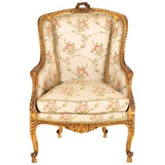Transition Style Bergere in Giltwood, circa 1880