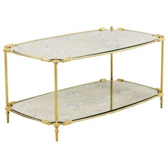 Transition Style Coffee Table in Gilt Brass and Oxidized Mirror, 1960s