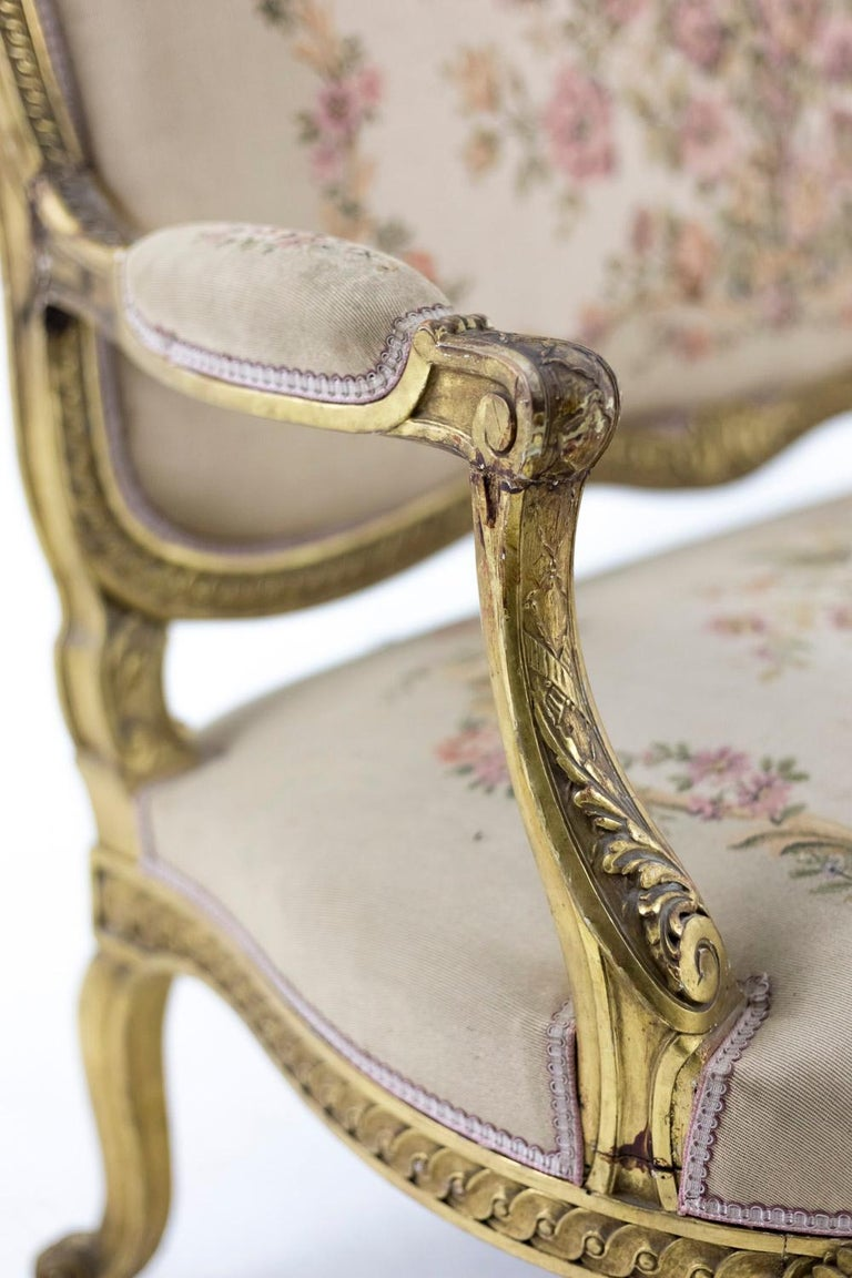 Transition Style Sofa in Giltwood and Tapestry, circa 1880 For Sale 3