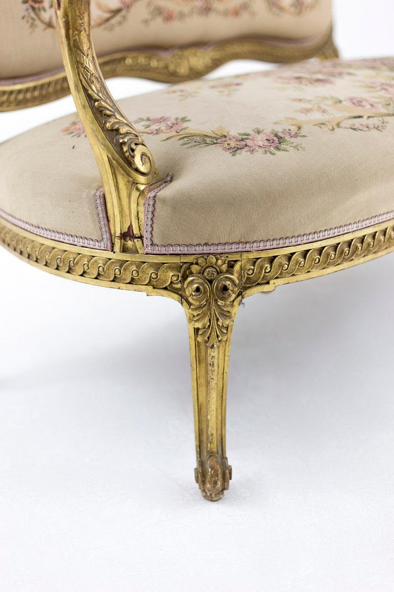 Transition Style Sofa in Giltwood and Tapestry, circa 1880 For Sale 4