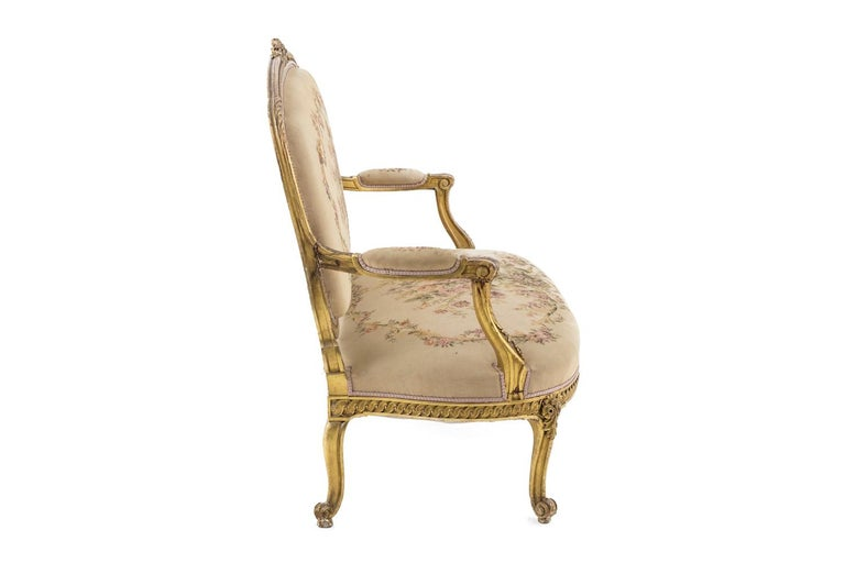 Louis XVI Transition Style Sofa in Giltwood and Tapestry, circa 1880 For Sale