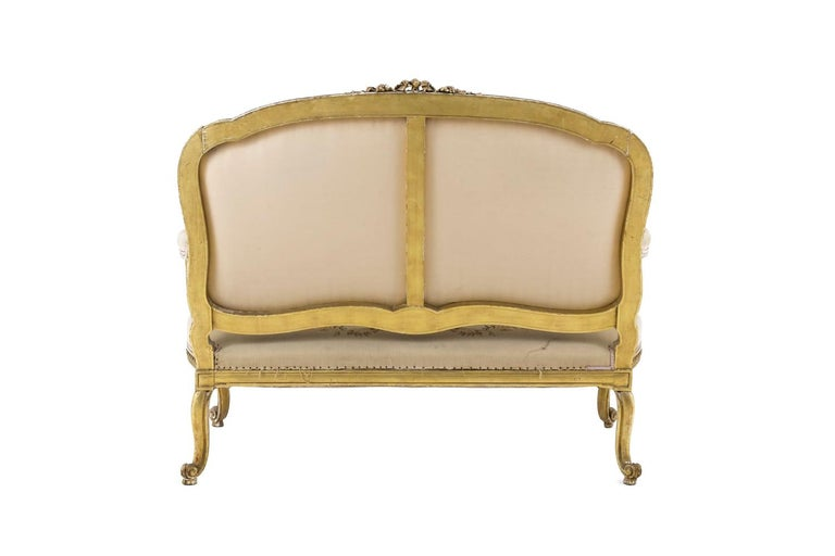 French Transition Style Sofa in Giltwood and Tapestry, circa 1880 For Sale