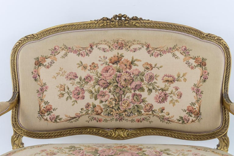 19th Century Transition Style Sofa in Giltwood and Tapestry, circa 1880 For Sale