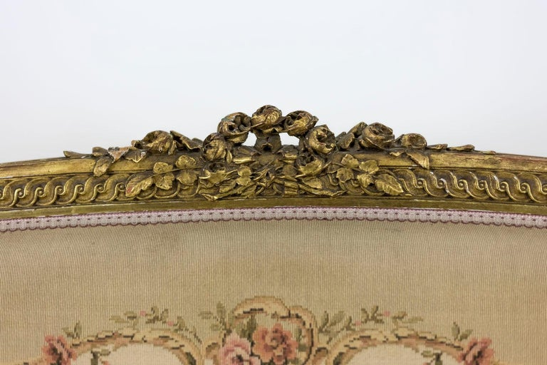 Transition Style Sofa in Giltwood and Tapestry, circa 1880 For Sale 1