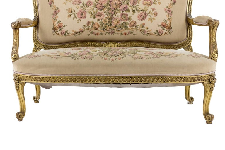 Transition Style Sofa in Giltwood and Tapestry, circa 1880 For Sale 2