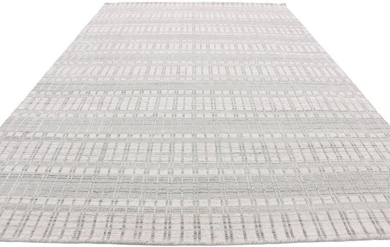Minimalist Transitional Area Rug with Scandinavian Modern Swedish Style For Sale