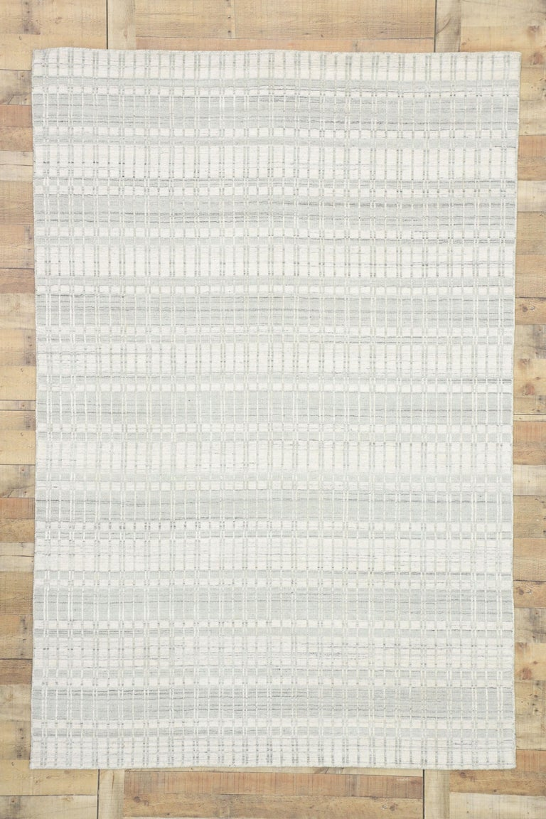 Wool Transitional Area Rug with Scandinavian Modern Swedish Style For Sale