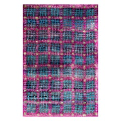 Transitional Black Purple Turquoise Hand-Knotted Natural Silk Eco-Friendly Rug