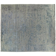 Transitional Blue Indian Wool Area Rug