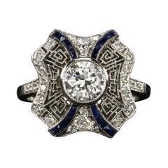 Transitional Cut Diamond and Sapphire Cocktail Diamond Ring