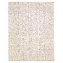 Transitional Design Handmade Beige Textured Oversize Wool Rug