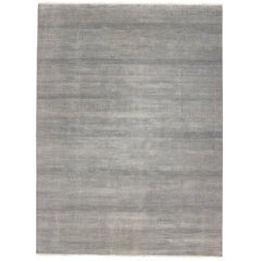 Transitional Grass Cloth Patterned Area Rug with Modern Style