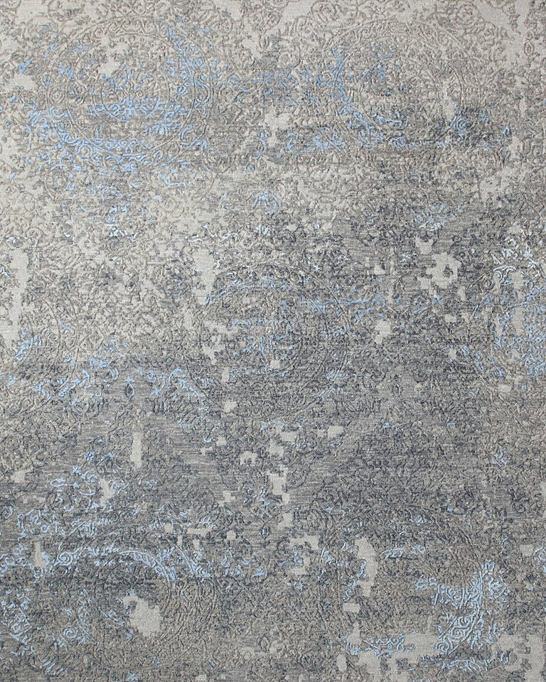 Art Deco Transitional Hand Knotted Area Rug in Beige Wool and Viscose Blend For Sale