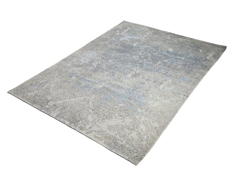 Transitional Hand Knotted Area Rug in Beige Wool and Viscose Blend For Sale 1