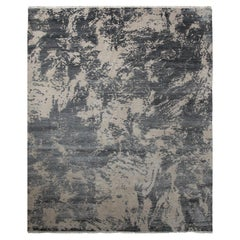 Transitional Hand Knotted Area Rug in Beige Wool and Viscose Blend