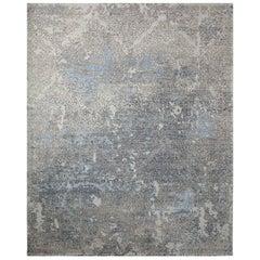 One-of-a-Kind Modern Wool Viscose Blend Handmade Area Rug, Slate, 7' 11 x 9' 11