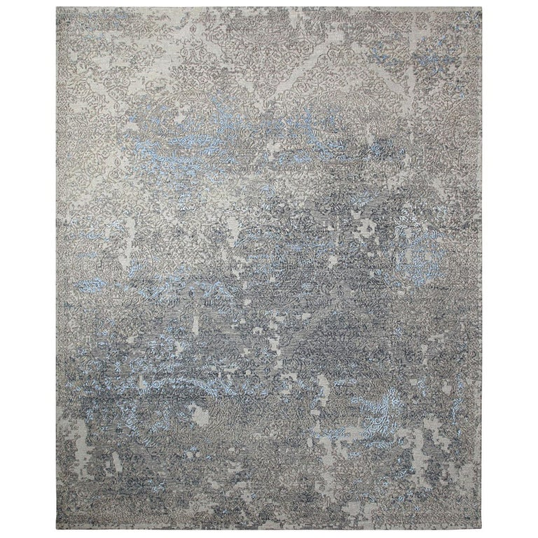 Transitional Hand Knotted Area Rug in Beige Wool and Viscose Blend For Sale
