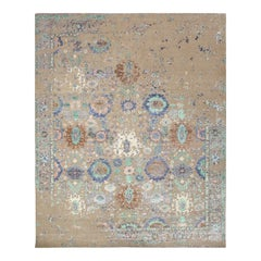 One-of-a-Kind Modern Wool Viscose Blend Hand-Knotted Area Rug, Tan, 7'11 x 10'1