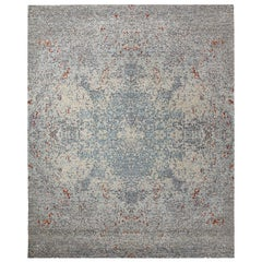 Transitional Hand Knotted Area Rug in Gray New Zealand Wool