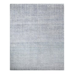 One-of-a-Kind Transitional Wool Viscose Blend Handmade Area Rug, Mist, 7'9 x 9'9