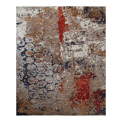 Transitional Hand Knotted Area Rug in Gray Wool and Viscose Blend