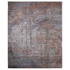 One-of-a-Kind Modern Wool Viscose Blend Hand-Knotted Area Rug, Ash, 9 x 12' 2