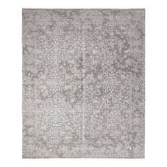 Transitional Hand Knotted Area Rug in Gray Wool Blend