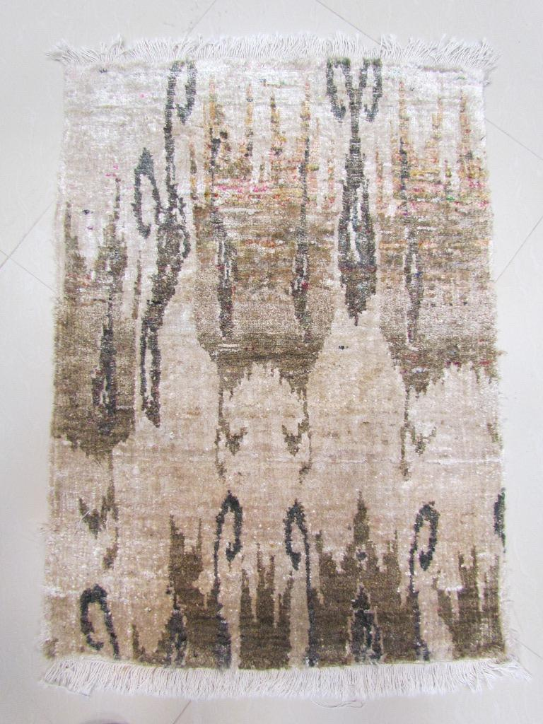 Organic Modern Beige Camel Tan Transitional Hand Knotted Silk Rug  For Sale